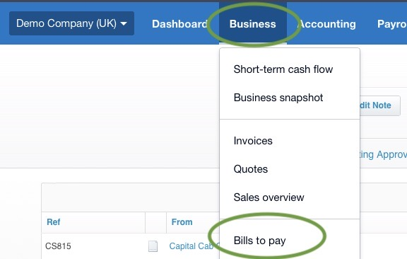 Finding Bills to pay in Xero