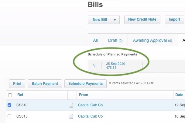 Schedule of Planned Payments in Xero