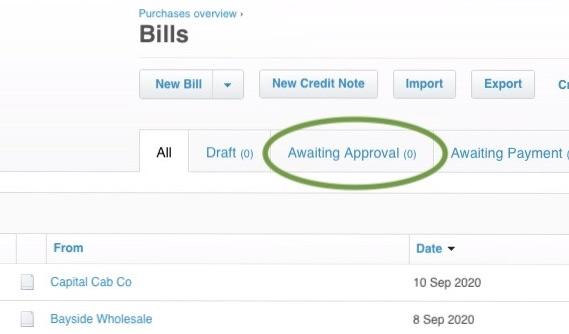Bills awaiting Approval in Xero